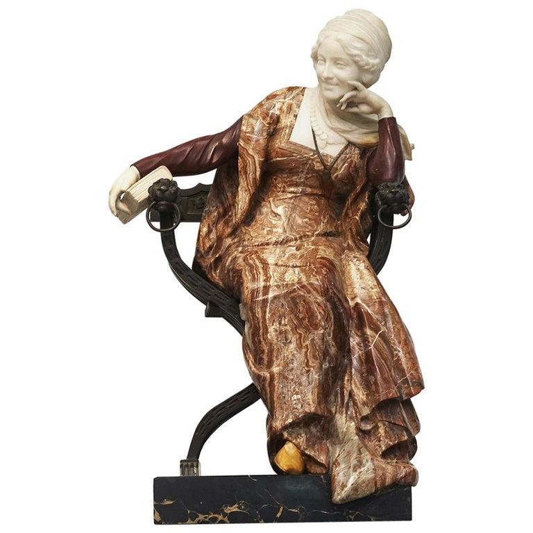 Ferdinando Vichi Marble Sculpture Sitting Woman For Sale