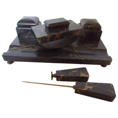 Historicism Desk Set Made of Black Marble