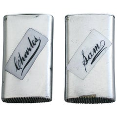 Pair of Silver and Enamel Vesta Cases Sam and Charles