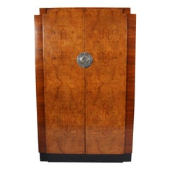 Belgian 1920s Burr Walnut Wardrobe and Hanging Cabinet