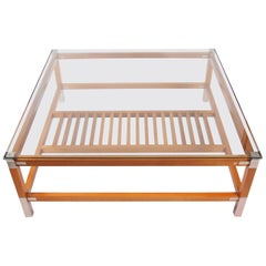 Large Square Hardwood and Steel Coffee Table circa 1980 by Pierre Vandel, Paris