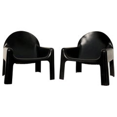 Gae Aulenti Space Age Polyurethane Black Lounge Armchair 4794 for Kartell, 1974