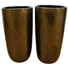 Alberto Donà Art Deco Black Gold Pair of Murano Glass Vases Signed Jars, 1990s