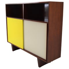 De Coene Mahogany Cabinet with Bookcase and Collored Sliding-Doors