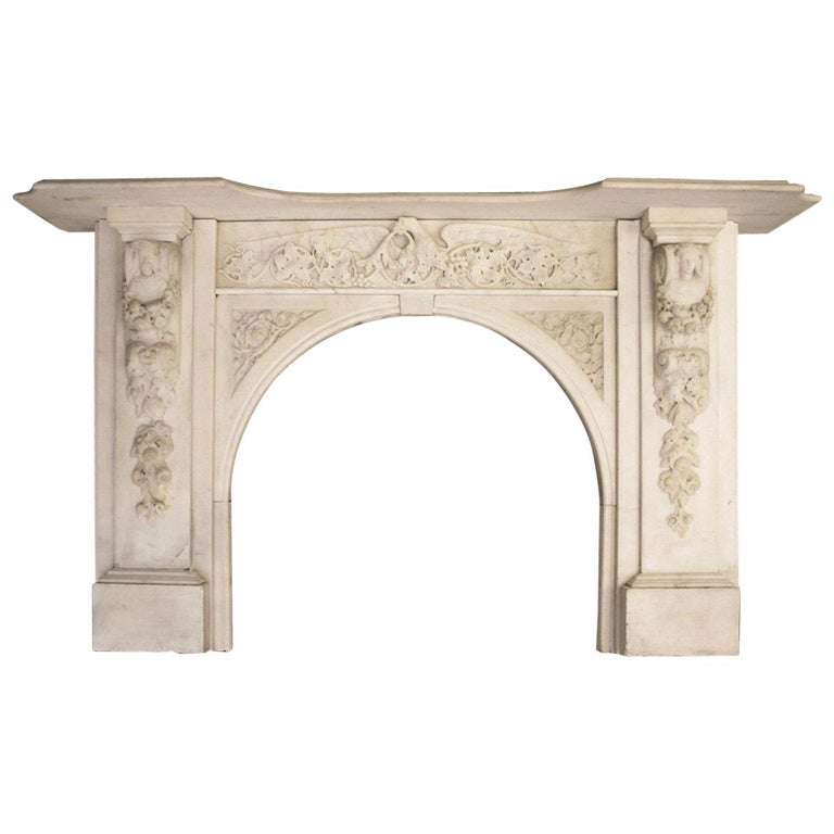 Spectacular Antique Early Victorian Carved Marble Chimneypiece For Sale