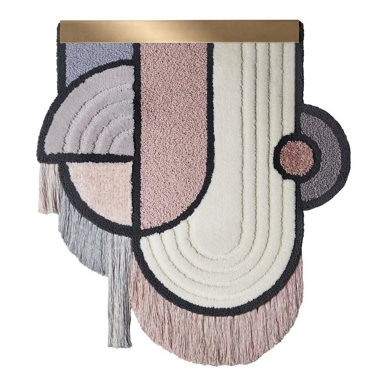 South Pole Wall Hanging, Wool Fringes Brass Geometric, Lara Bohinc for Kasthall For Sale