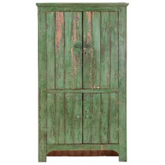 Early 20th Century Pine Painted Green Cupboard