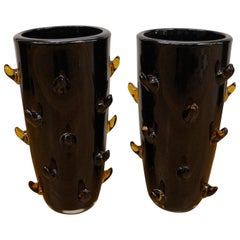 Toso Mid-Century Modern Black Amber Pair of Murano Glass Vases Signed Jars, 1988