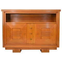Charles Dudouyt Oak Cabinet, 1940 with Secret Space
