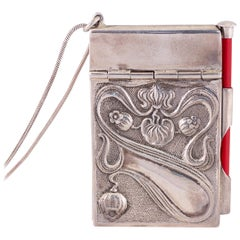 Victorian Silver Notepad with Neck Chain, circa 1900