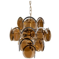 Italy 1960s Brass / Gold Colored and Smoked Glass Chandelier by Gino Vistosi