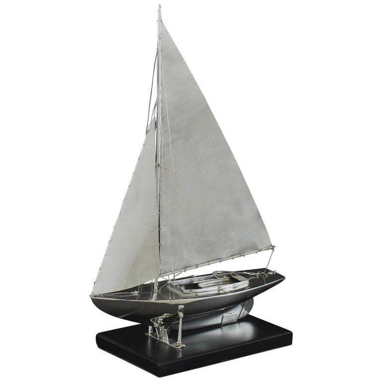 Benzie's Sterling Silver Model Yacht, Hallmarked, 1935 For Sale