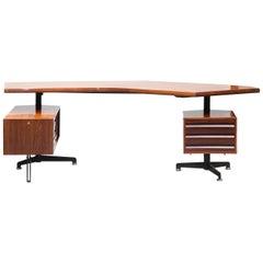 Osvaldo Borsani T96 Boomerang Rosewood Desk for Tecno