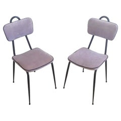Mid-Century Modern Pair of Dark Metal and Lilac Velvet Chairs, 1950s