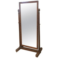 Antique Dutch Marquetry Cheval Dressing Mirror