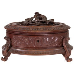 Black Forest Carved Jewelry Box, circa 1900