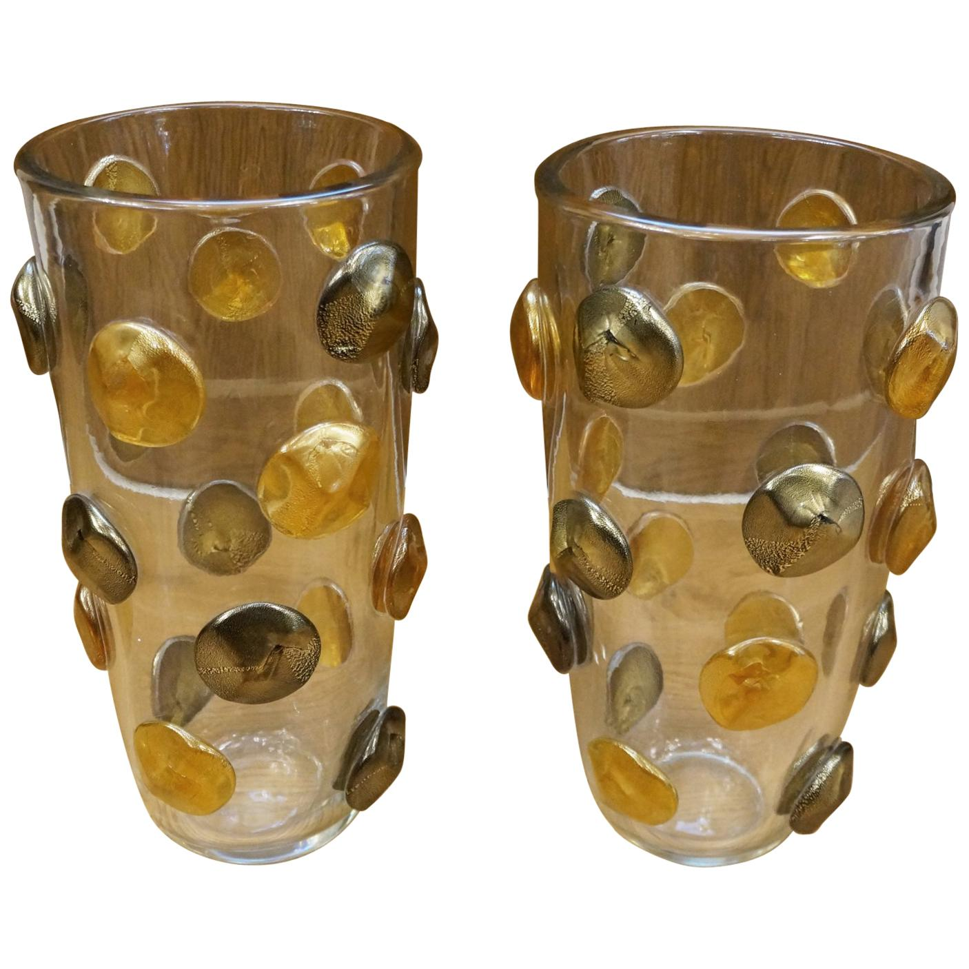 Toso Mid-Century Modern Crystal Amber Black Gold Pair of Murano Glass Vases 1995
