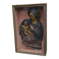 Antique Wall Display Cabinet with a Rare Mary & Child Jesus Sculpture Fragment