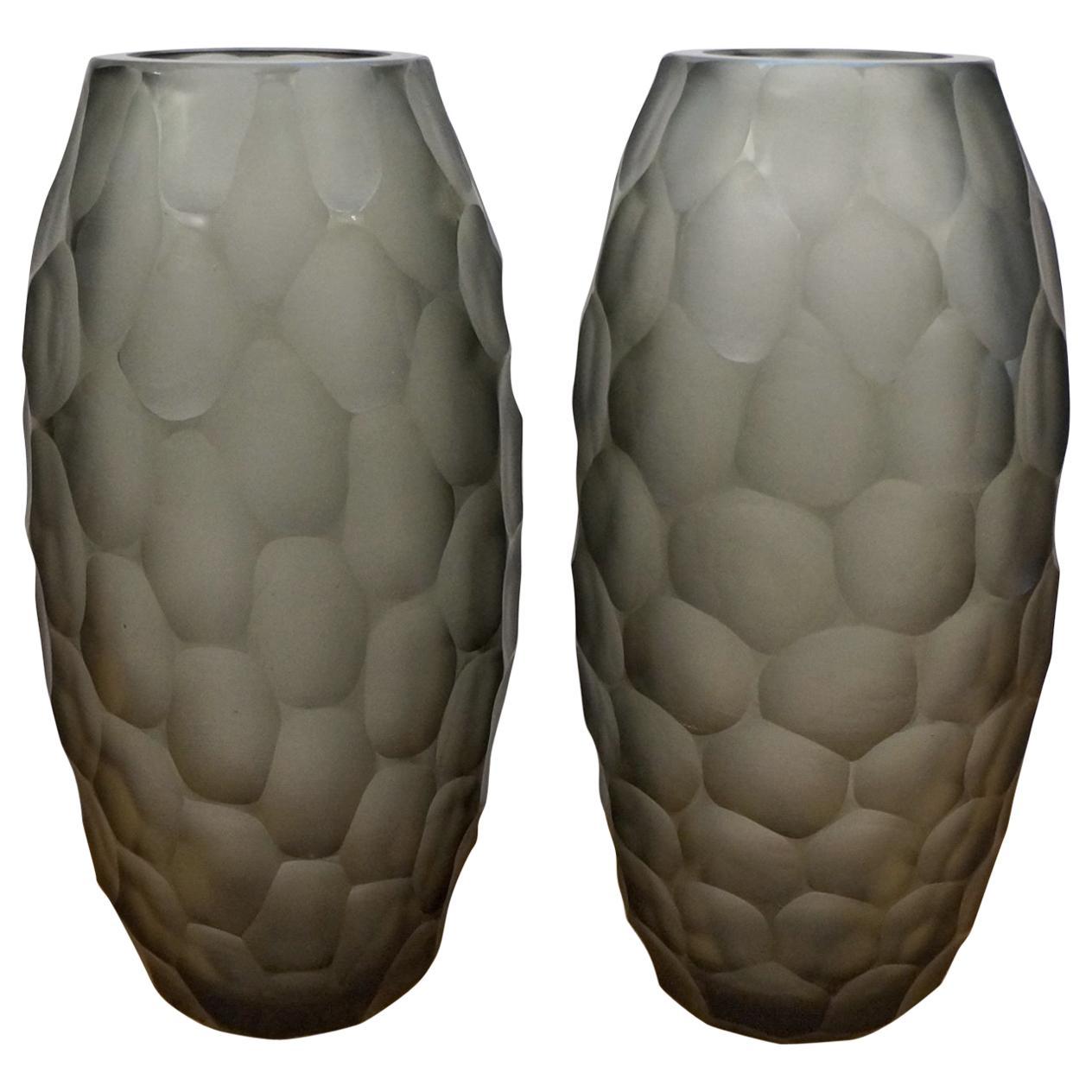 Alberto Donà Mid-Century Modern Grey Two Molato Murano Glass Vases Signed, 1999