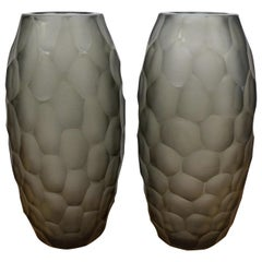 Alberto Donà Mid-Century Modern Grey Two Molato Murano Glass Vases Signed, 1999