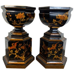 Grand Scale Pair of Chinoiserie Decorated Urn by Mainland Smith