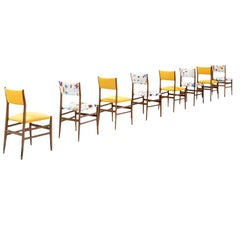 "Gio Ponti Set of Twelve ""Leggera"" Ash Wood and Linen Italian Chairs, 1951"
