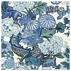 Schumacher Chiang Mai Dragon Chinoiserie China Blue Wallpaper, Triple Roll Set