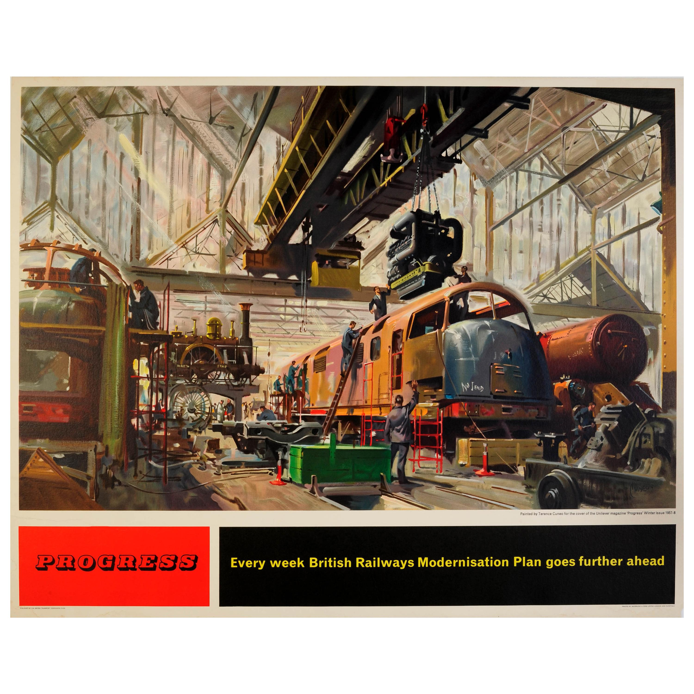 Original Vintage British Railways Modernisation Plan Poster Progress Train Depot