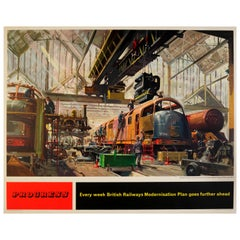 Original Vintage British Railways Modernisation Plan Poster Progress Train Depot