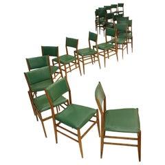 Gio Ponti Midcentury Ash Wood 'Leggera' Italian Chairs, 1950s