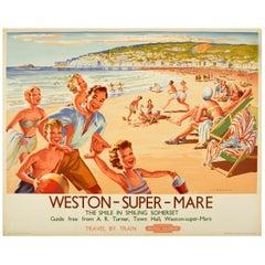Original Vintage British Railways Poster Weston-Super-Mare Somerset Summer Beach