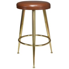 Italian Midcentury Brass and Leather Stool by Ico Parisi, 1950s