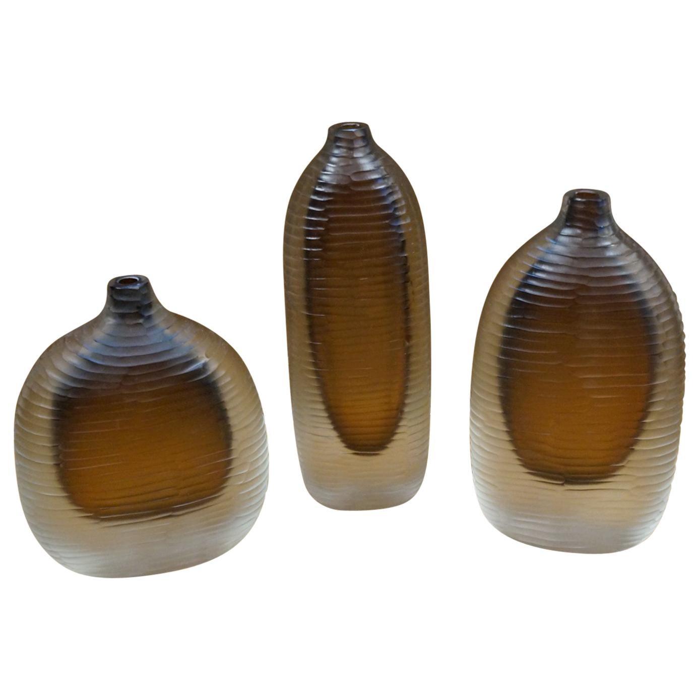 Alberto Donà Mid-Century Modern Amber Clear Three Molato Murano Glass Vases 1992