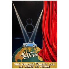 Original Vintage Classic Car Advertising Poster Matford V8 Art Deco Stage Design