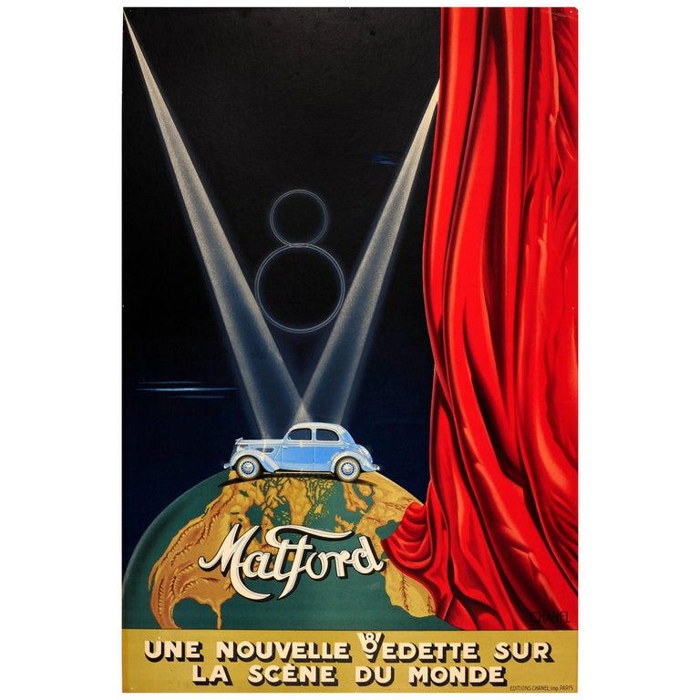 Original Vintage Classic Car Advertising Poster Matford V8 Art Deco Stage Design For Sale