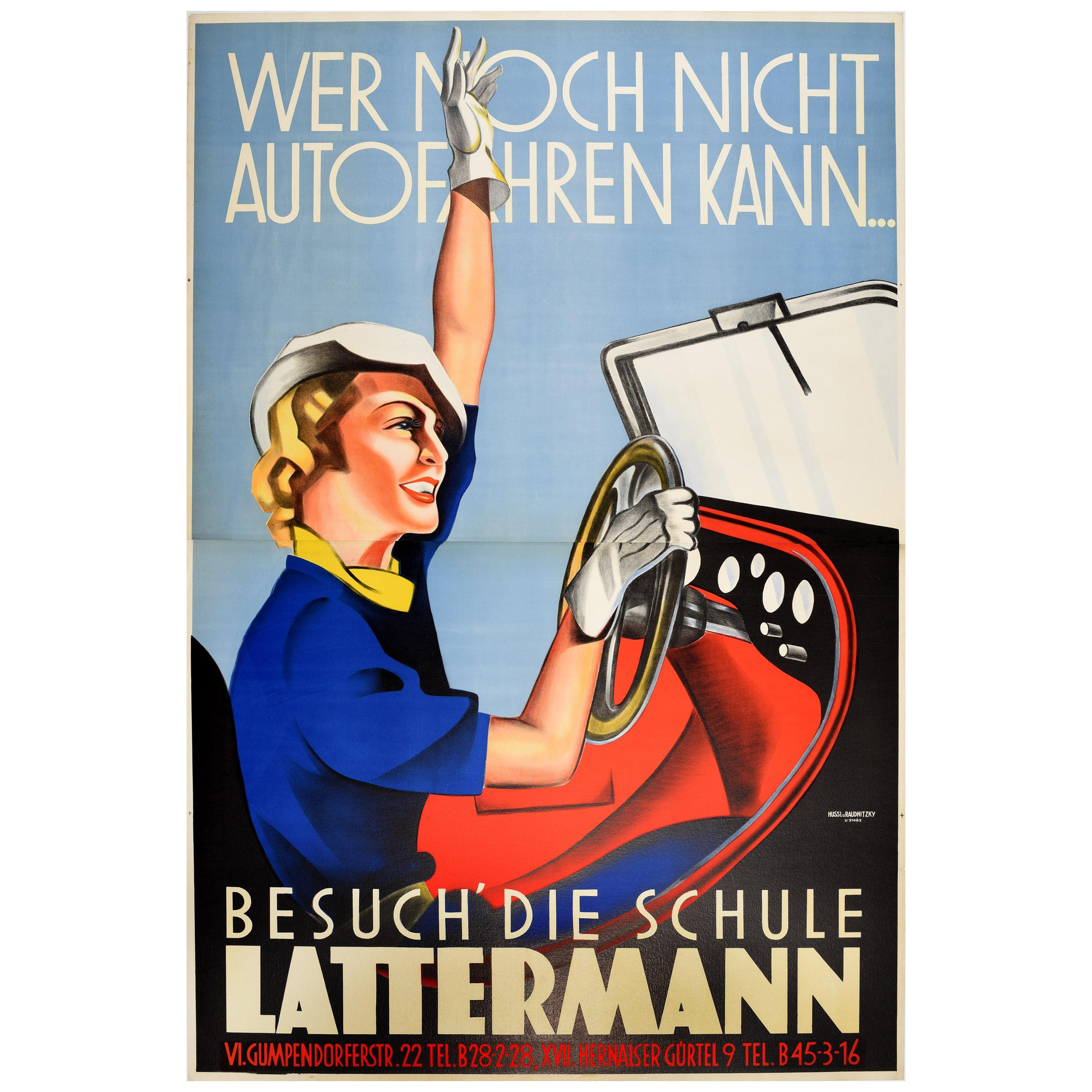 Original Vintage Art Deco Style Advertising Poster for Lattermann Driving School