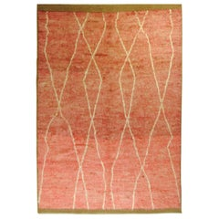 21st Century Pink Tribal Afghan Rug in High Hand Dyed Wool, circa 2000s
