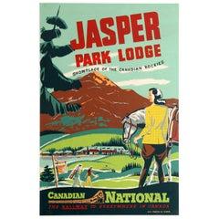 Original Vintage Canadian National Railways Poster Jasper Park Lodge Rockies CNR