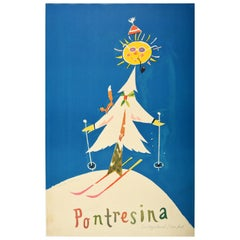 Original Vintage Winter Sport Skiing Poster by Leupin for Pontresina Switzerland