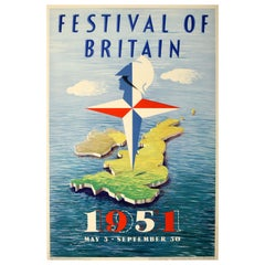 Original Vintage Mid Century Design Poster by A. Games Festival of Britain 1951