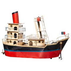 Vintage French Metal Freighter Toy Boat circa 1950 Original Painted Finish