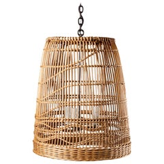 Vintage French Woven Reed Basket Chandelier Light Fixture Lantern, circa 1920