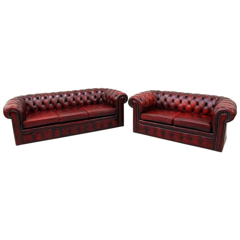3-Seat, 2-Seat Chesterfield Sofa Leather Antique Couch English Real ...