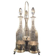 Quality Antique Silver Plate 3-Bottle Tantalus, circa 1900