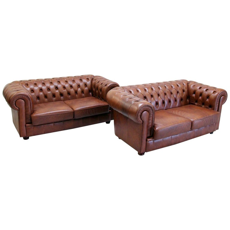2 Chesterfield Sofa Leather Antique Chippendale Vintage Couch