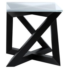 """RK"" Modern Wood Side Table with Square Crystal Extra White Glass Top"