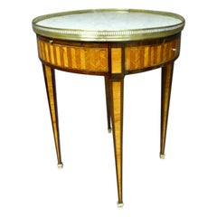 19th Century Louis XVI Style Marquetry and Marble Bouillotte Table