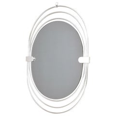Oval Smoked Wall Mirror with a Triple Chrome-Plated Metal Frame, Italy, 1970s
