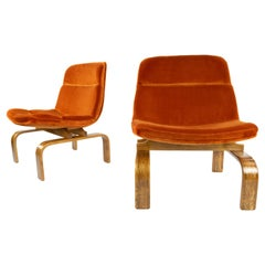 Two Midcentury Orange Velvet and Oak Lounge Chairs by AG Barcelona, 1960