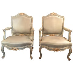 Pair or 18th Century Louis XV Style Parcel Gilt Armchairs